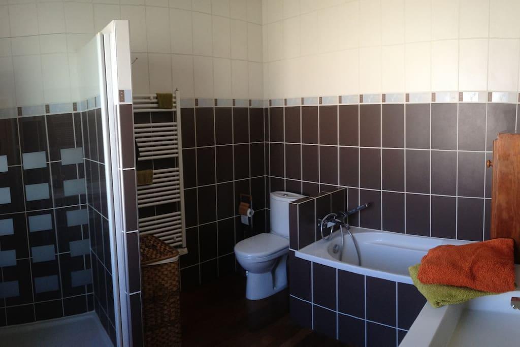 Sale de bain personnelle spacieuse et bien équipée.