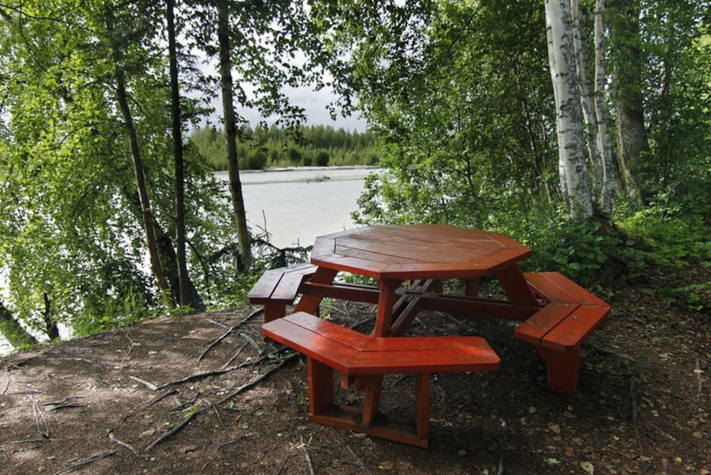 Two picnic tables with river view