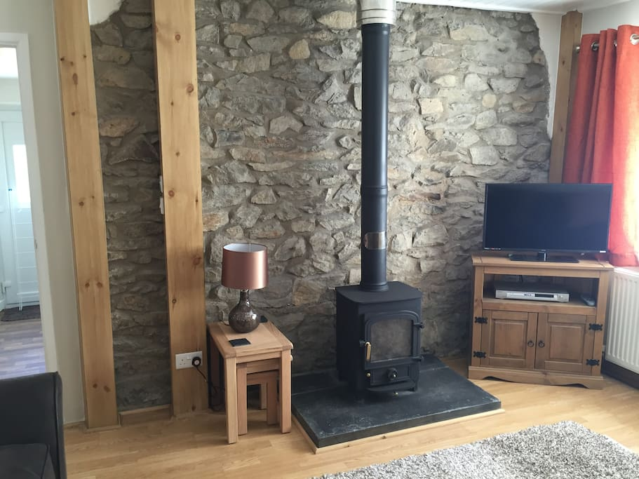 Cosy front room with log burner