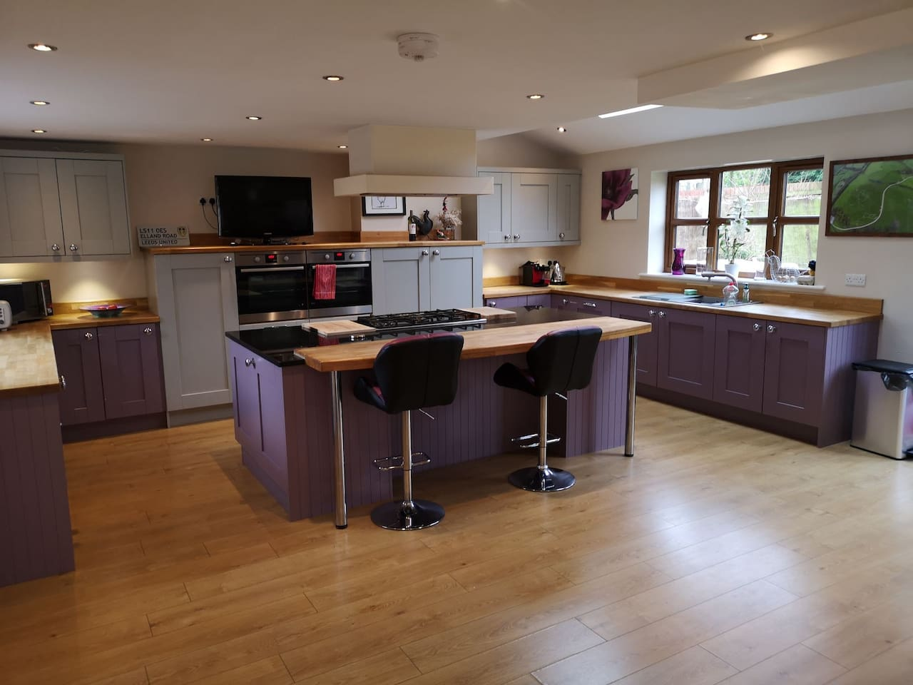 Kitchen is all yours, I'm hardly ever in it. Comes with two ovens , 5 hobs, microwave, freezer, fridge, dishwasher, toaster and of course kettle and lots of cupboard space.