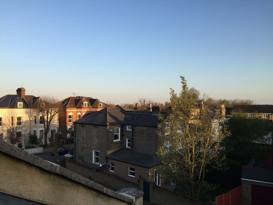 Views over Clapton's rooftops from the velux windows.