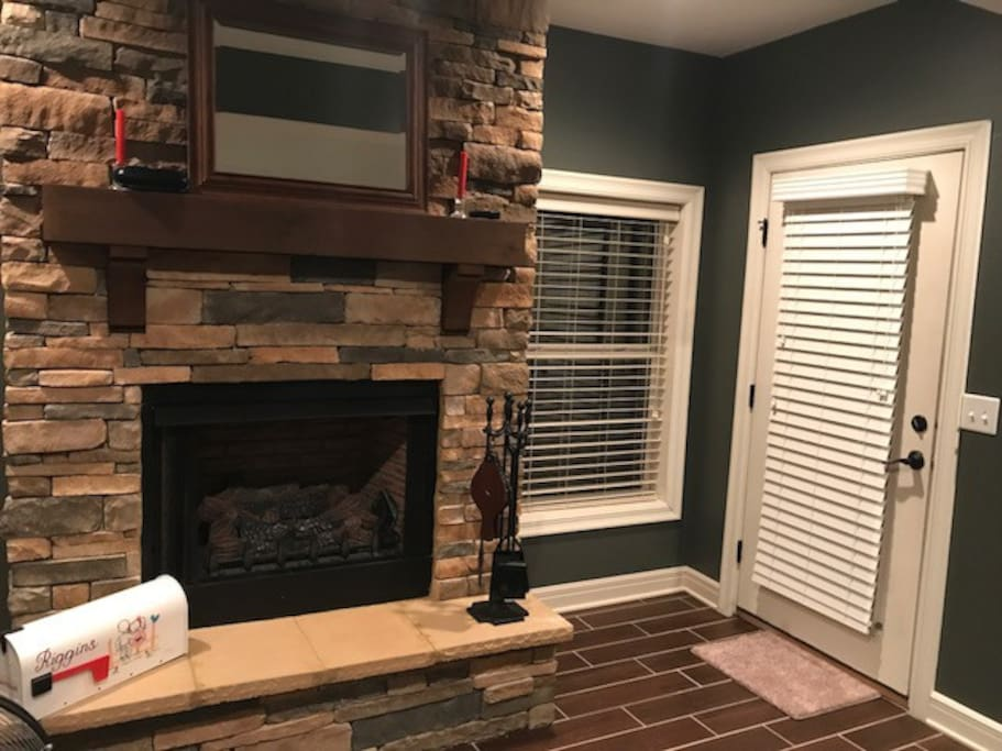 Fireplace and Private door