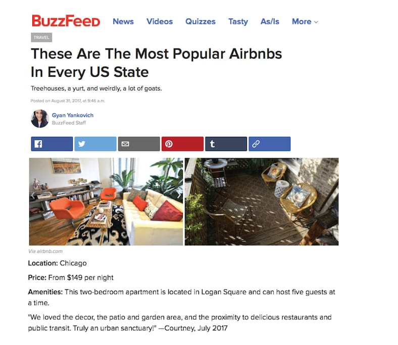 The most popular listing in Illinois. Buzzfeed, August 2017.