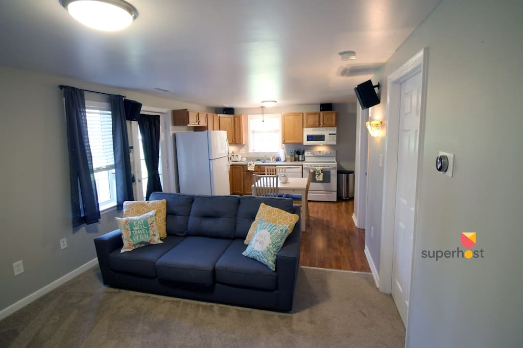 Roomy living and kitchen area