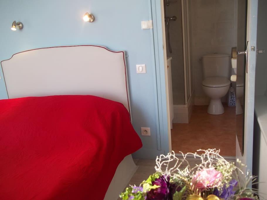 Chambre grand lit , douche ,wc