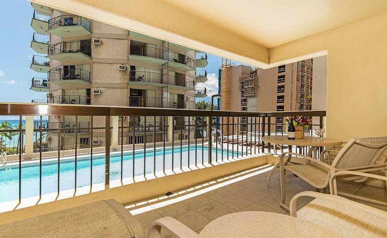 Condo Lanai with Pool View