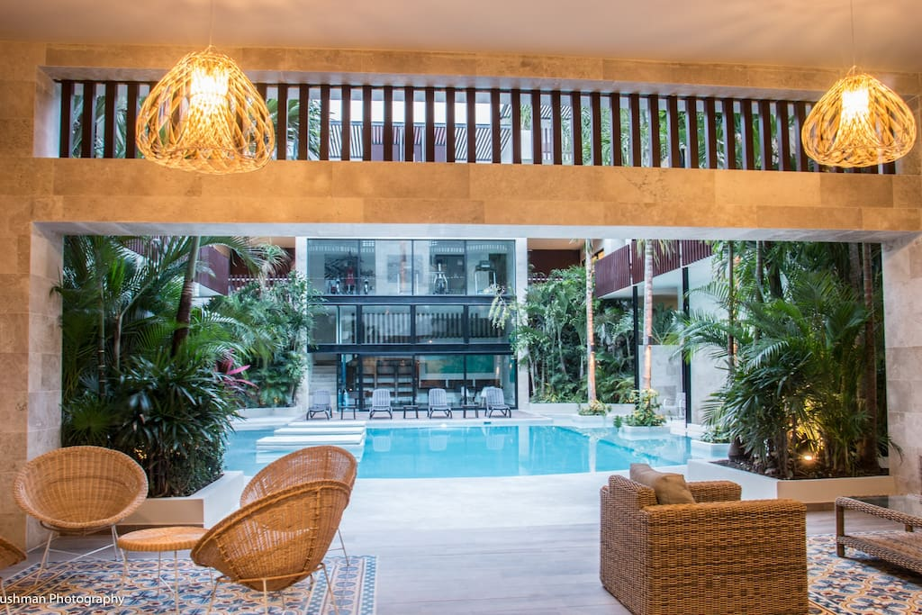 View from the comfortable lobby/entrance area towards the pool.