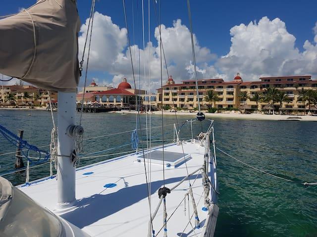 41 ft sailboat in virgin setting. Swim from boat