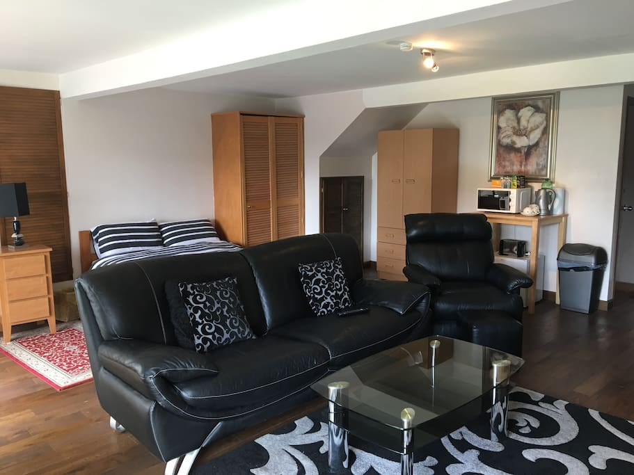 leathe suite and coffee table