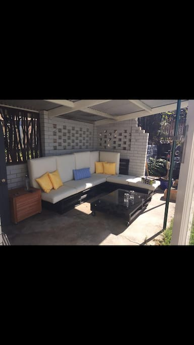 Sweet outdoor setting with fire Pitt for day and night drinks