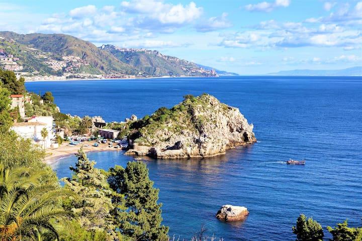 Taormina's magnificent Mazzarò beach (view from property terrace)