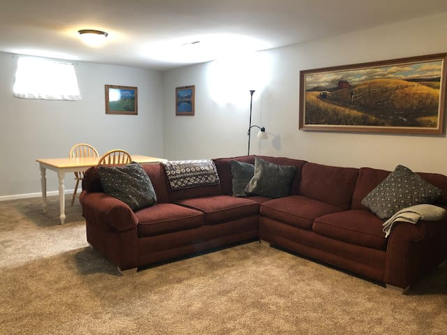 Basement rec room with games and puzzles.