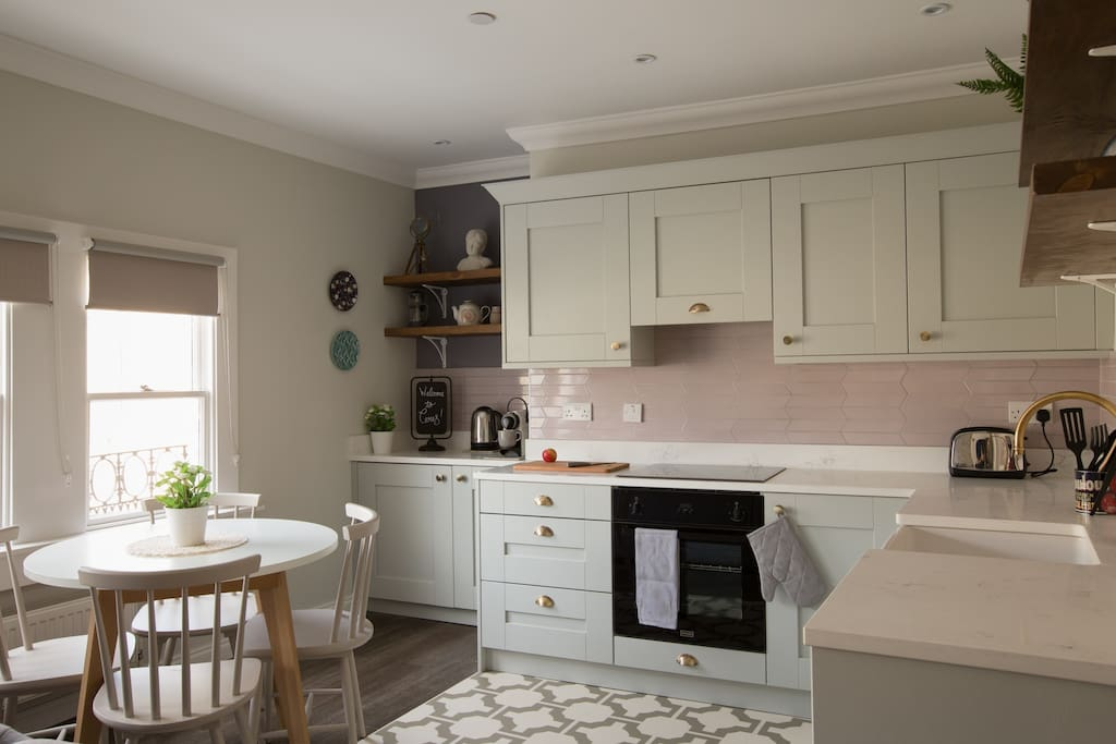 The beautiful kitchen and dining area