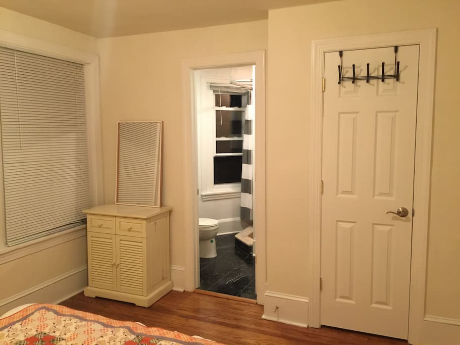 Closet space, and bathroom.