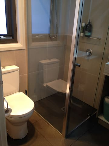 Bathroom with toilet, basin and shower (shampoo,  conditioner and body wash).