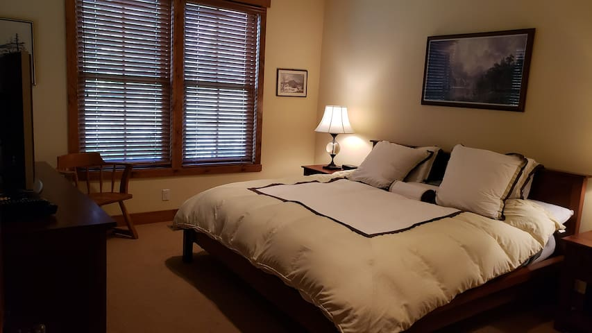 Master bedroom with new foam mattress, heavy down, extra pillows, and amazing views!