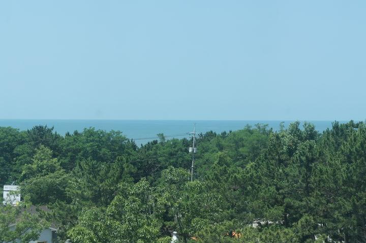 바다 전망과 숲속의 자연을 함께 즐길수 있는 정원이 이쁜 집. 비와도 바베큐 가능.