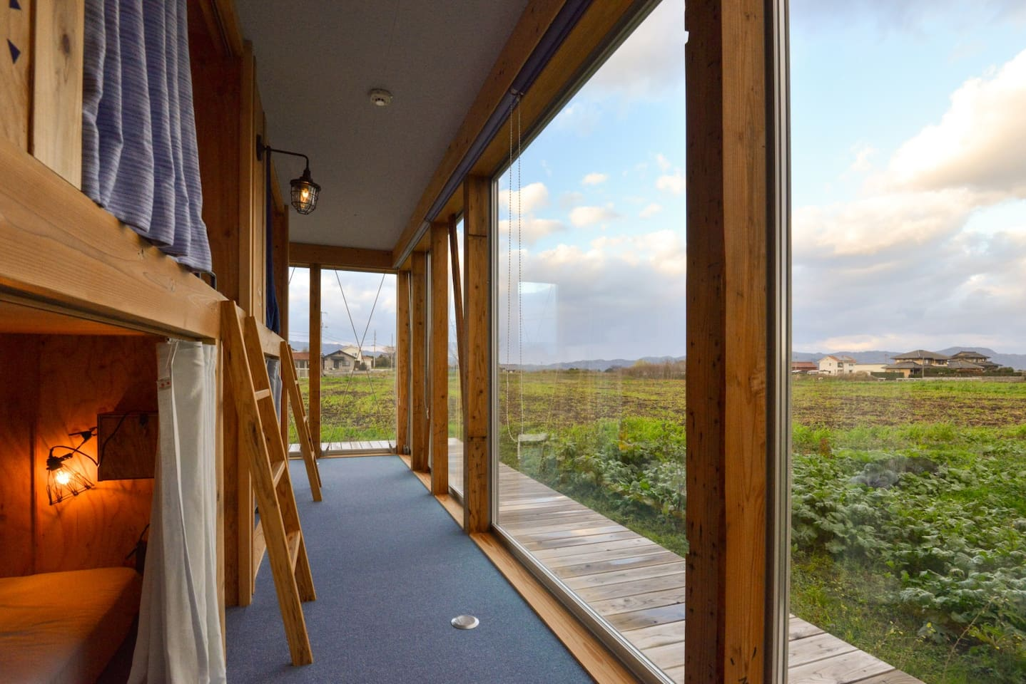 Guests can enjoy island's unique farm-view from bed cabins.