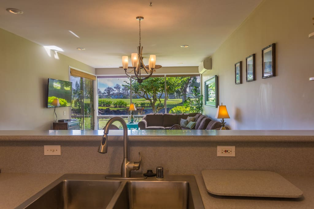 Open layout with views from Kitchen.