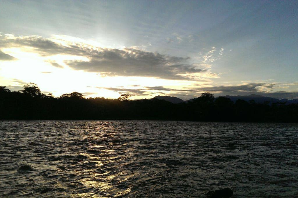 Sunrise over the Jatun Yacu, view from the cabins