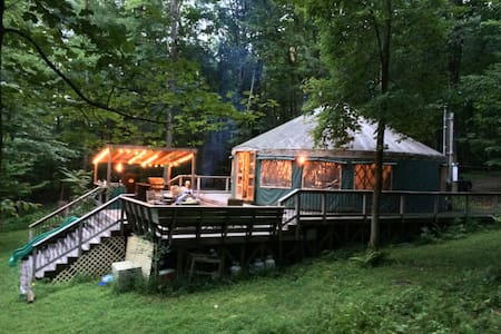 Yurt in Upstate NY - private river-2 hrs from NYC - Accord