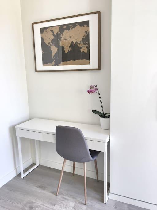 Small desk area in bedroom for working
