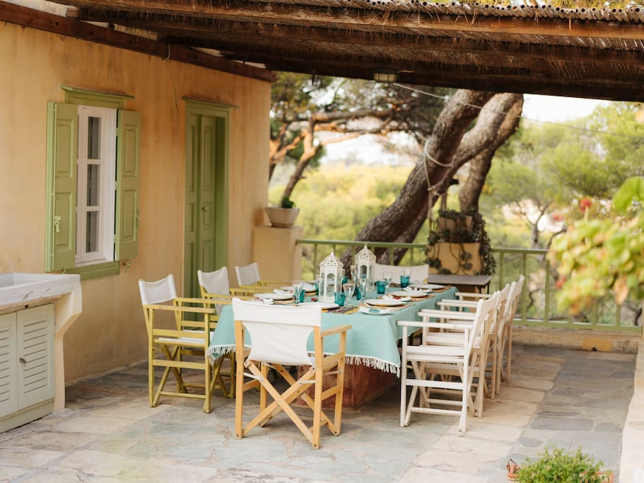The covered terrace is perfect for long, lazy lunches