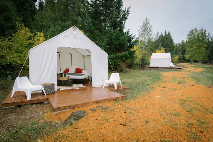 Glamping at Cave Creek Farm - Mt. Rainier Tent