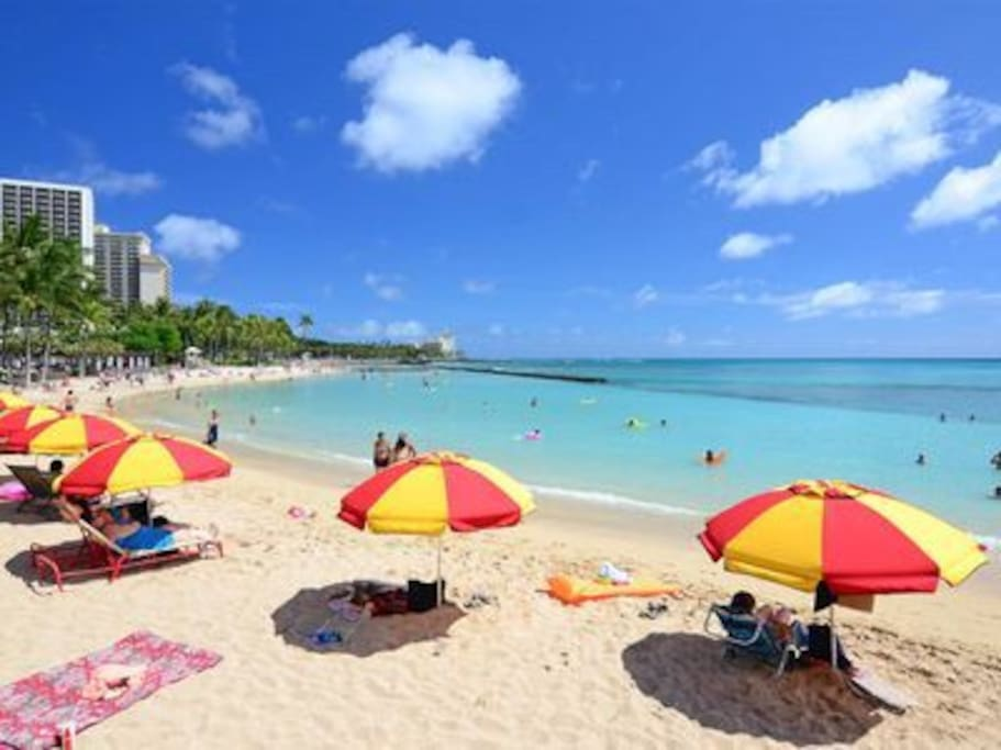 "The world popular beach ""Waikiki Beach "" is just 2 minutes walk from your door"