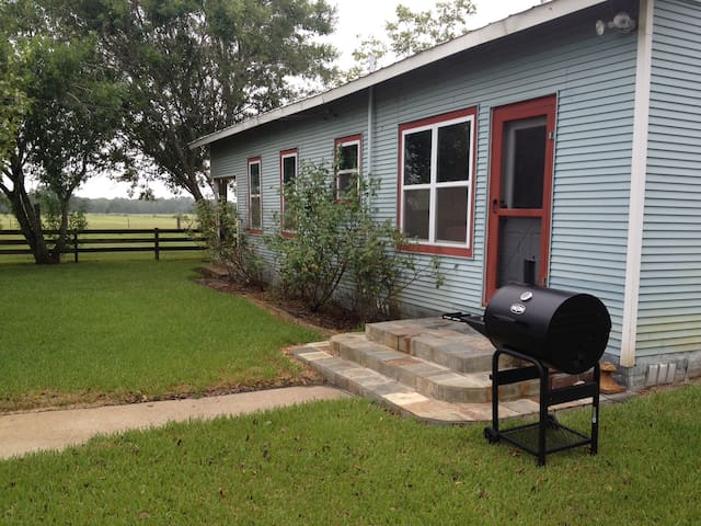 Side view of farmhouse with outdoor grill.