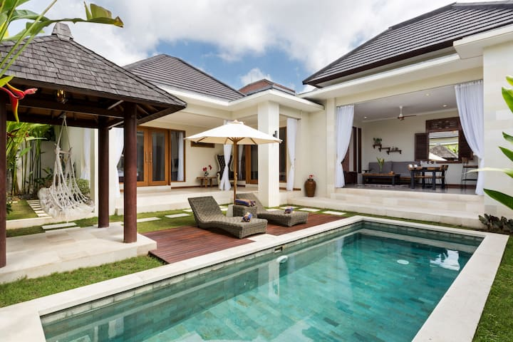 Pool deck and garden.