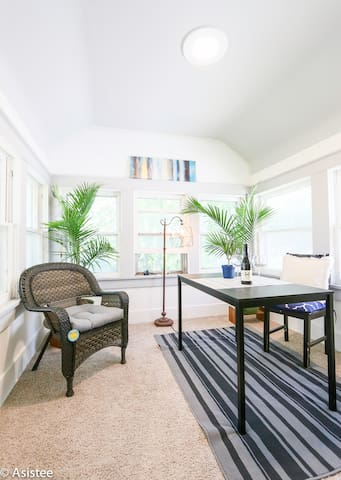 You will have a private room with an attached private sunroom for work or relaxing.