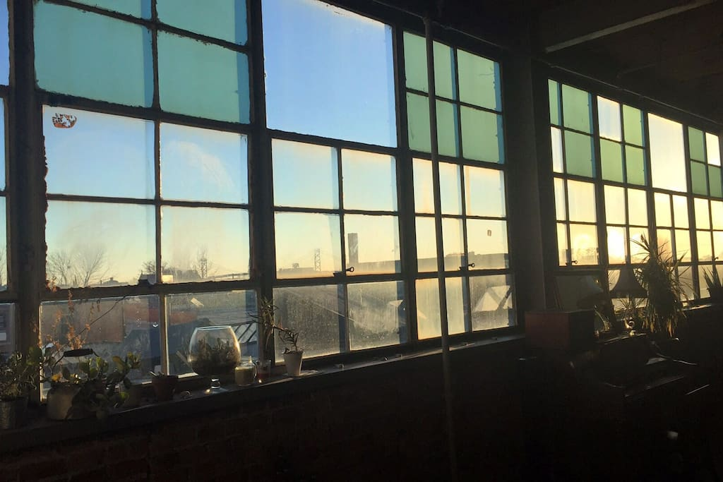 Very industrial with view featuring the beautiful the Ambassador Bridge to Canada that lights up at night. The loft is very close to the river (about .8 miles)