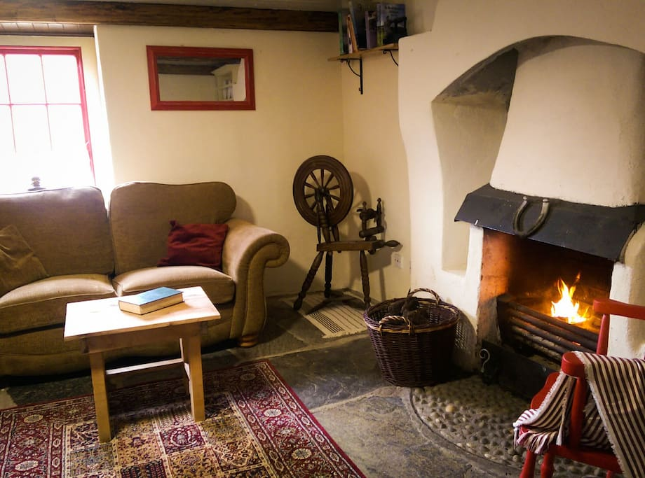 In Glebe Cottage the central heating is heated by a water boiler fitted to the original open fireplace. Guests will be provided with locally cut peat turf for fuel. The cutting of turf is a tradition that goes back millennia in Ireland.