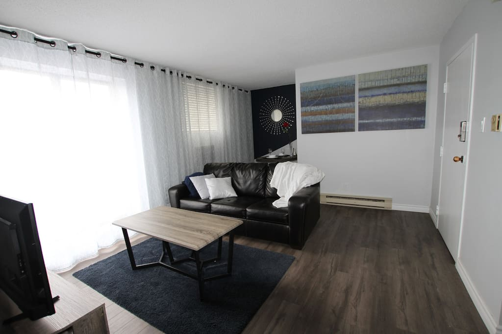 Living Room with a >25 foot long Balcony! Perfect for those warm summer nights...