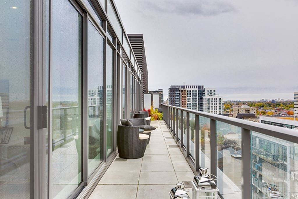 Huge patio with a view of downtown Toronto