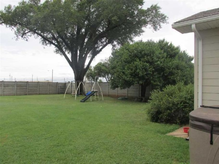 Large fenced in back yard for children and pets.