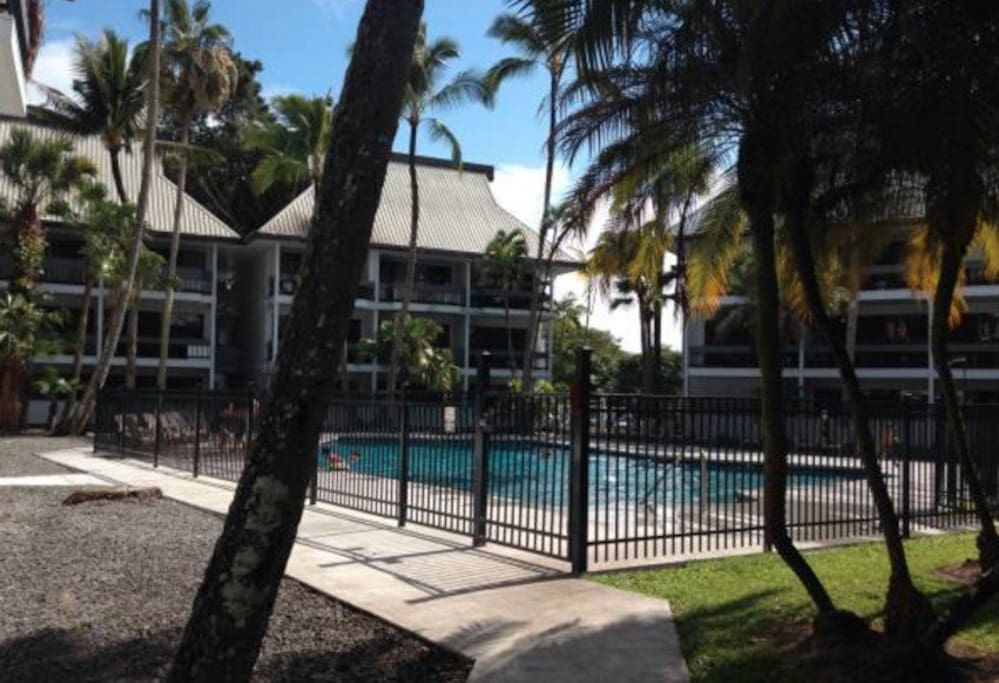 The private, gated pool is just a two-minute walk away from the studio.