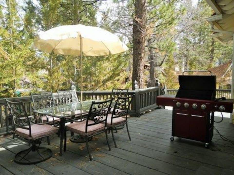 Private Deck Featuring a Propane BBQ