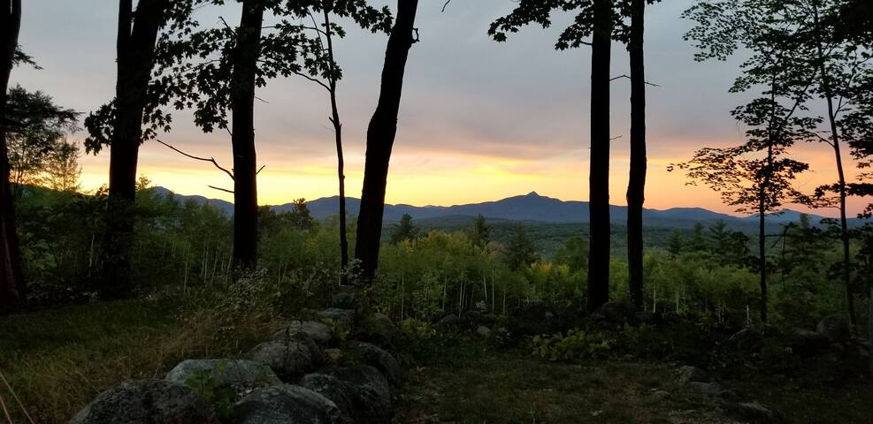 """View of Chocorua Mountain/ Sandwich Range to the north. This is a real picture! Stay at the """"Clough House """" and wake up to views.  North is the Sandwich Range and Presidentials. Clough House is in Ossipee Mountains! Summer 2018."""