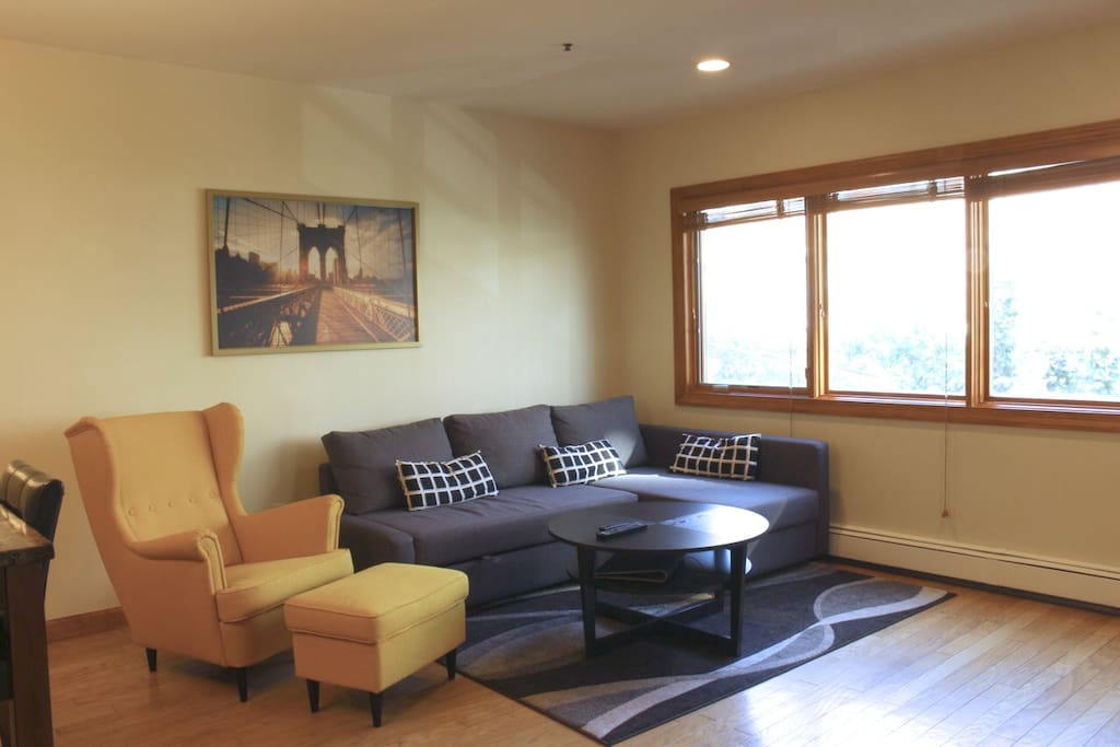 The living room has great natural light, and scenic views of Park Avenue below.