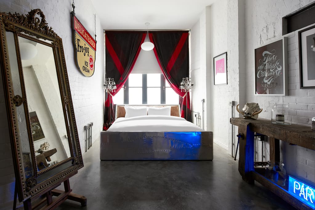 The master bedroom with a Super King-sized bed.