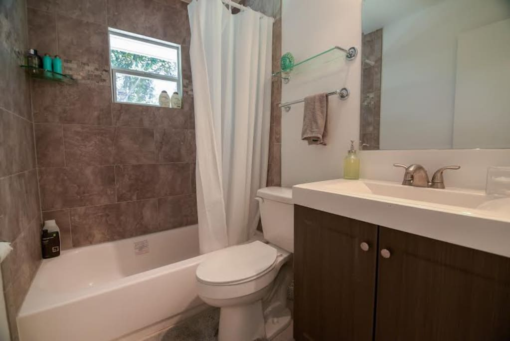 The bathroom. Feel free to bring your own toiletries or to use any of those available in the shower.