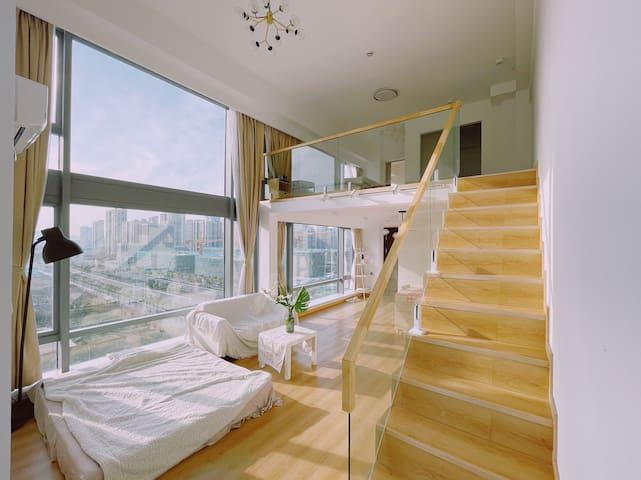 南站边/大落地窗/精装loft公寓