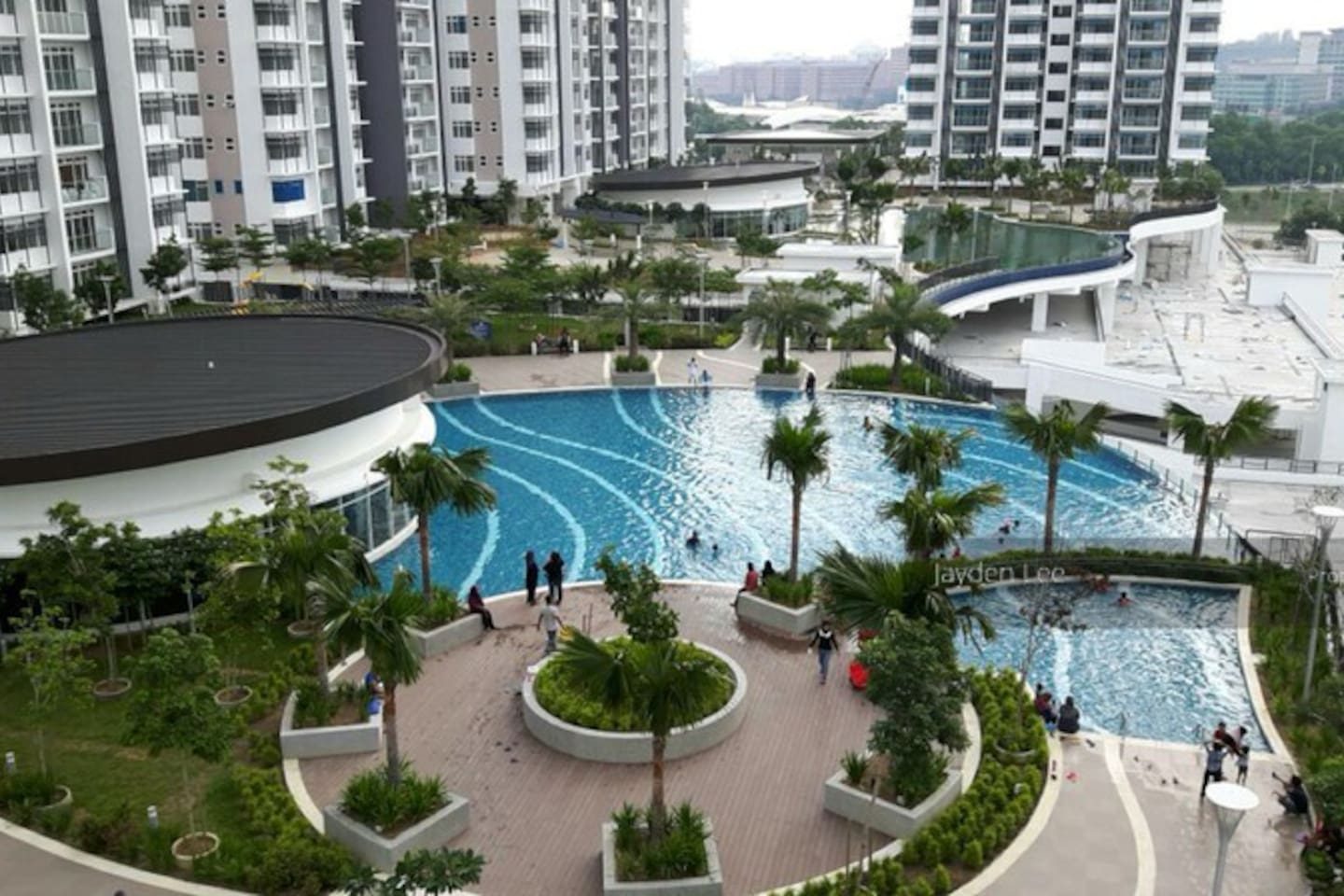 View from swimming pool area