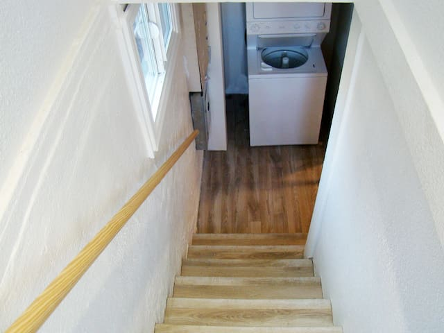 Stairs down to living space