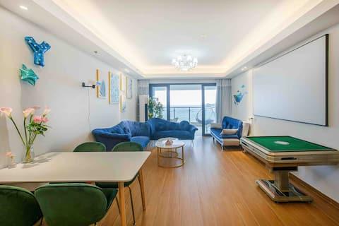 【冬季海陵岛】9米巨大海景阳台 270度全海景150平米两房两厅套房 120寸投影 自动麻将