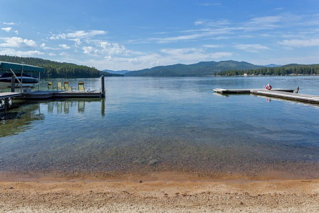 View of beautiful Priest Lake from our sandy beach.