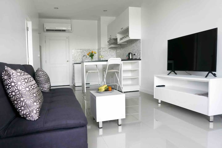 Open kitchen with livingroom. Sofa bed and smart TV.