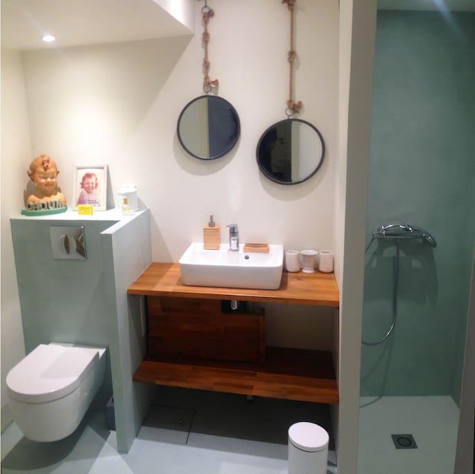 une salle de bain privative avec WC douche et sèche serviette chauffant électrique.